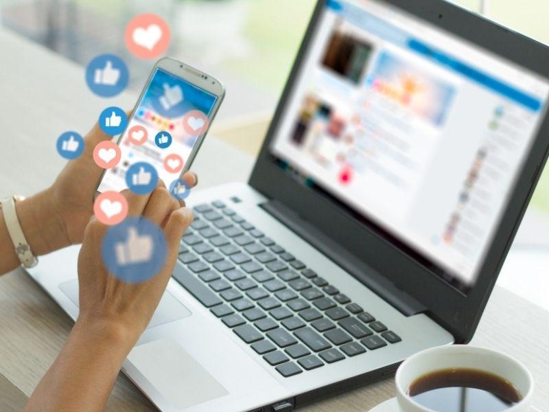 woman using phone for social media